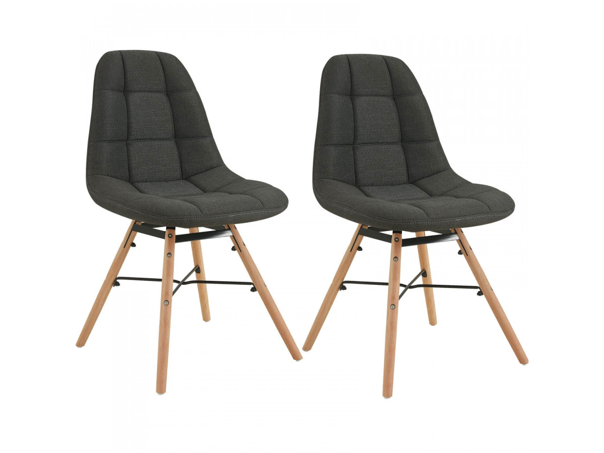 Lot de 2 chaises en tissu anthracite MARIUS bois et métal noir