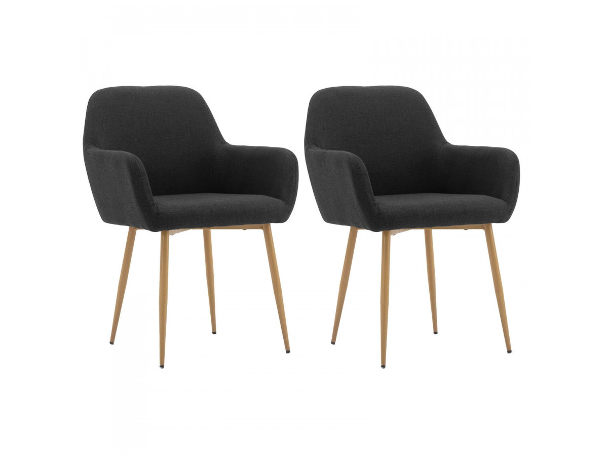 Lot de 2 chaises en tissu anthracite PASAS métal impression bois