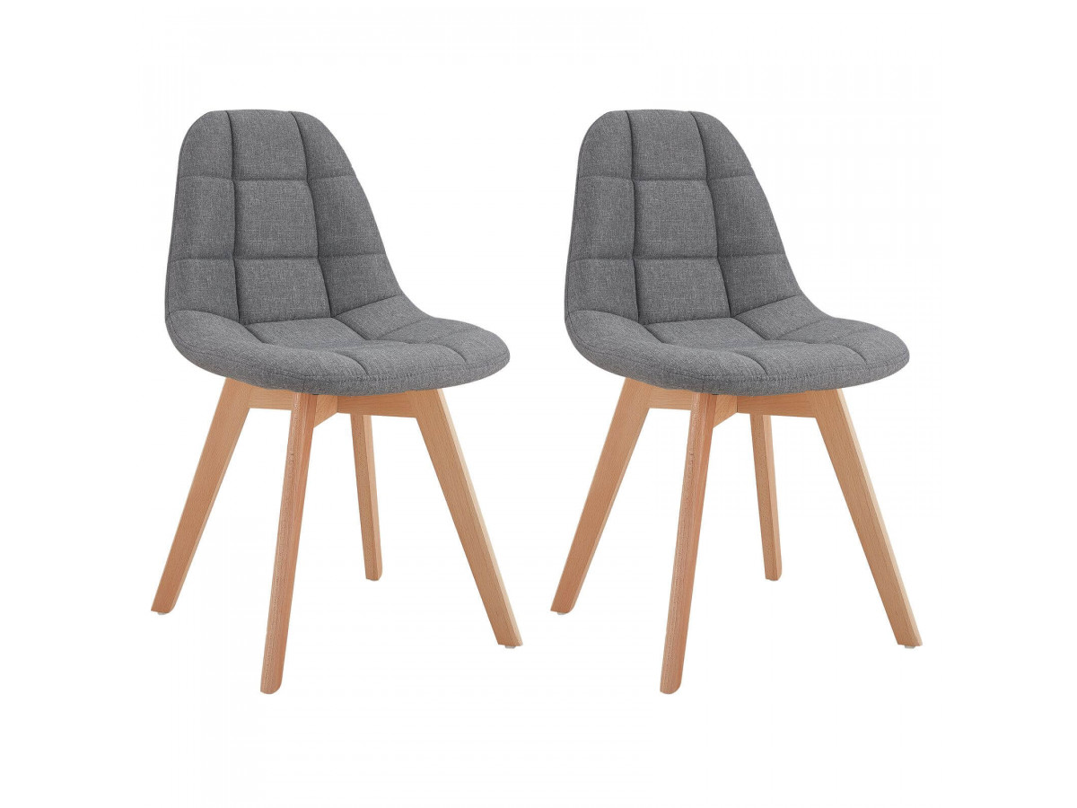 Lot de 2 chaises en tissu gris MARIUS
