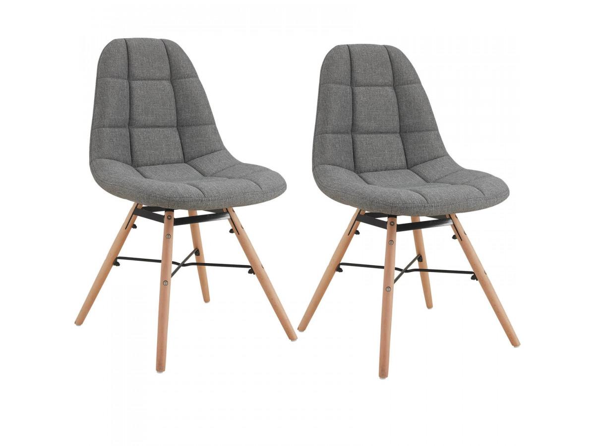 Lot de 2 chaises en tissu gris MARIUS bois et métal noir