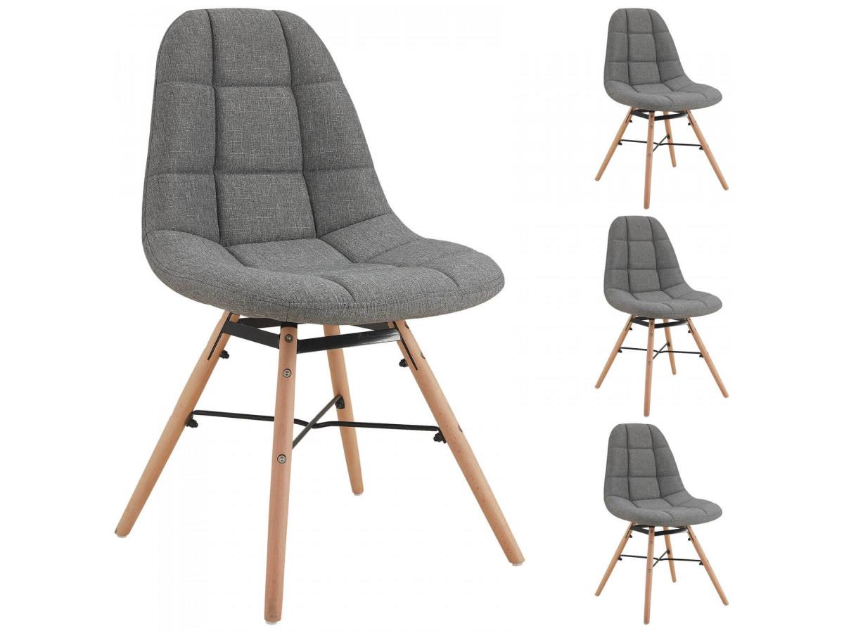 Lot de 4 chaises en tissu gris MARIUS bois et métal noir