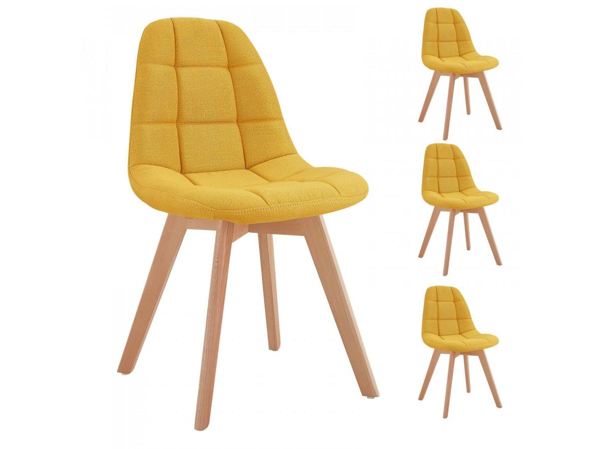Lot de 4 chaises en tissu jaune MARIUS