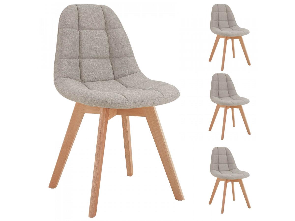 Lot de 4 chaises en tissu beige MARIUS