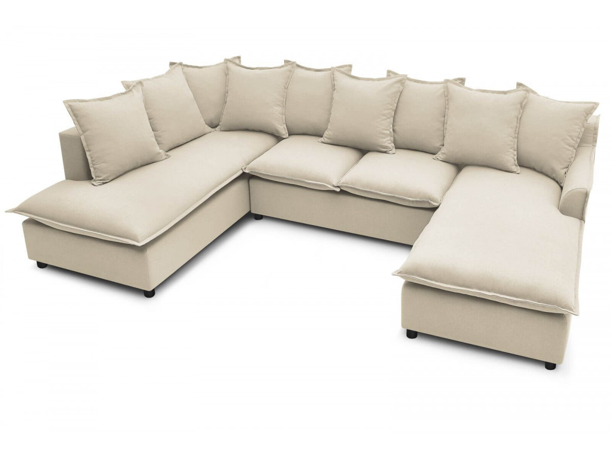 Canapé d'angle panoramique convertible XXL coffre Haute Couture MONA