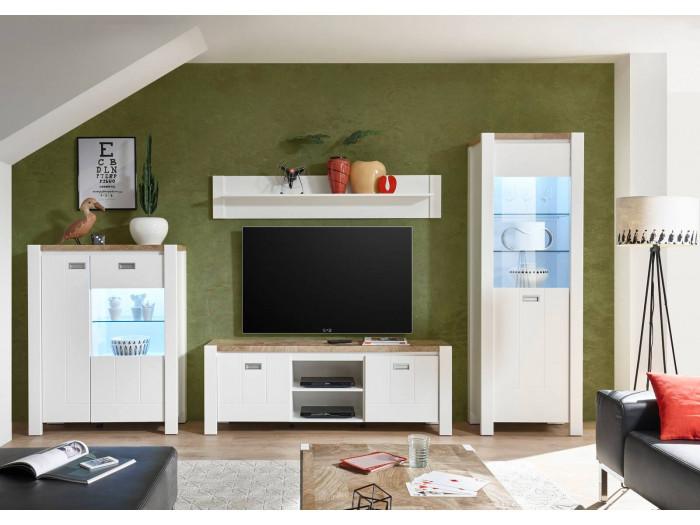 Meuble TV YORGA Bois et Blanc mat