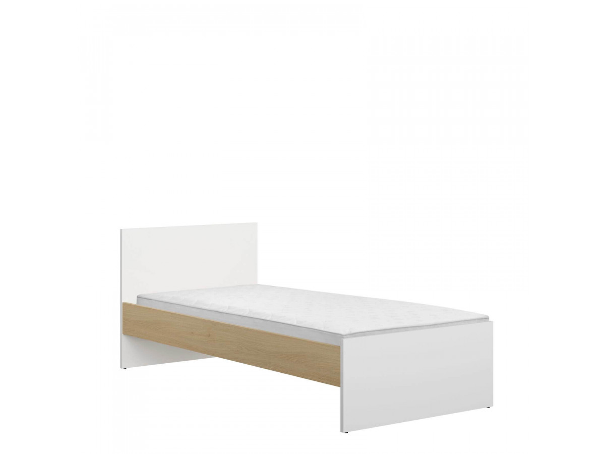 Lit HARLEY 90x190 blanc brillant/orange