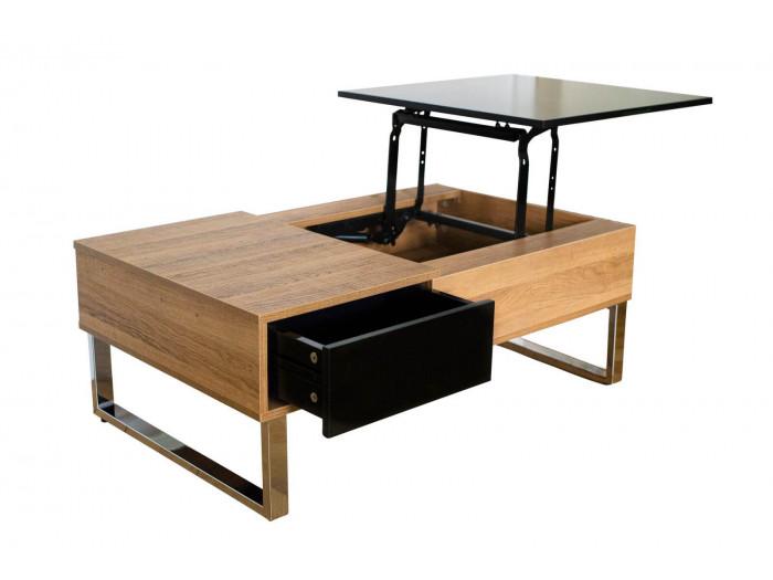 Table basse 110 cm BERGEN Bois clair et Noir