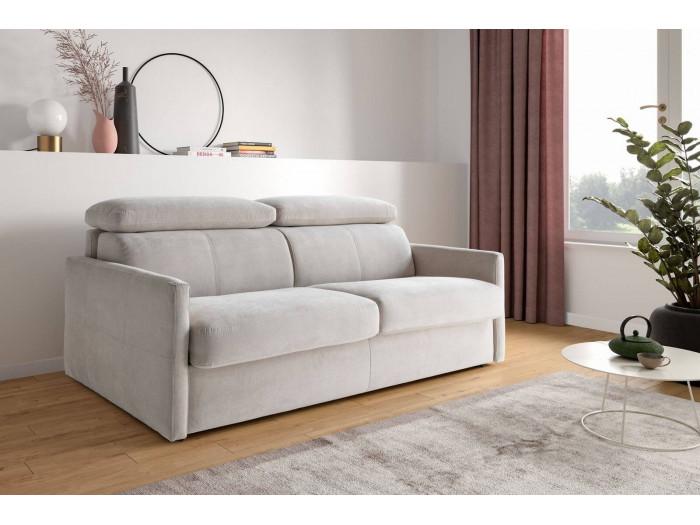 Canapé droit convertible Haute Couture COMPATTO ouverture express et têtières réglables