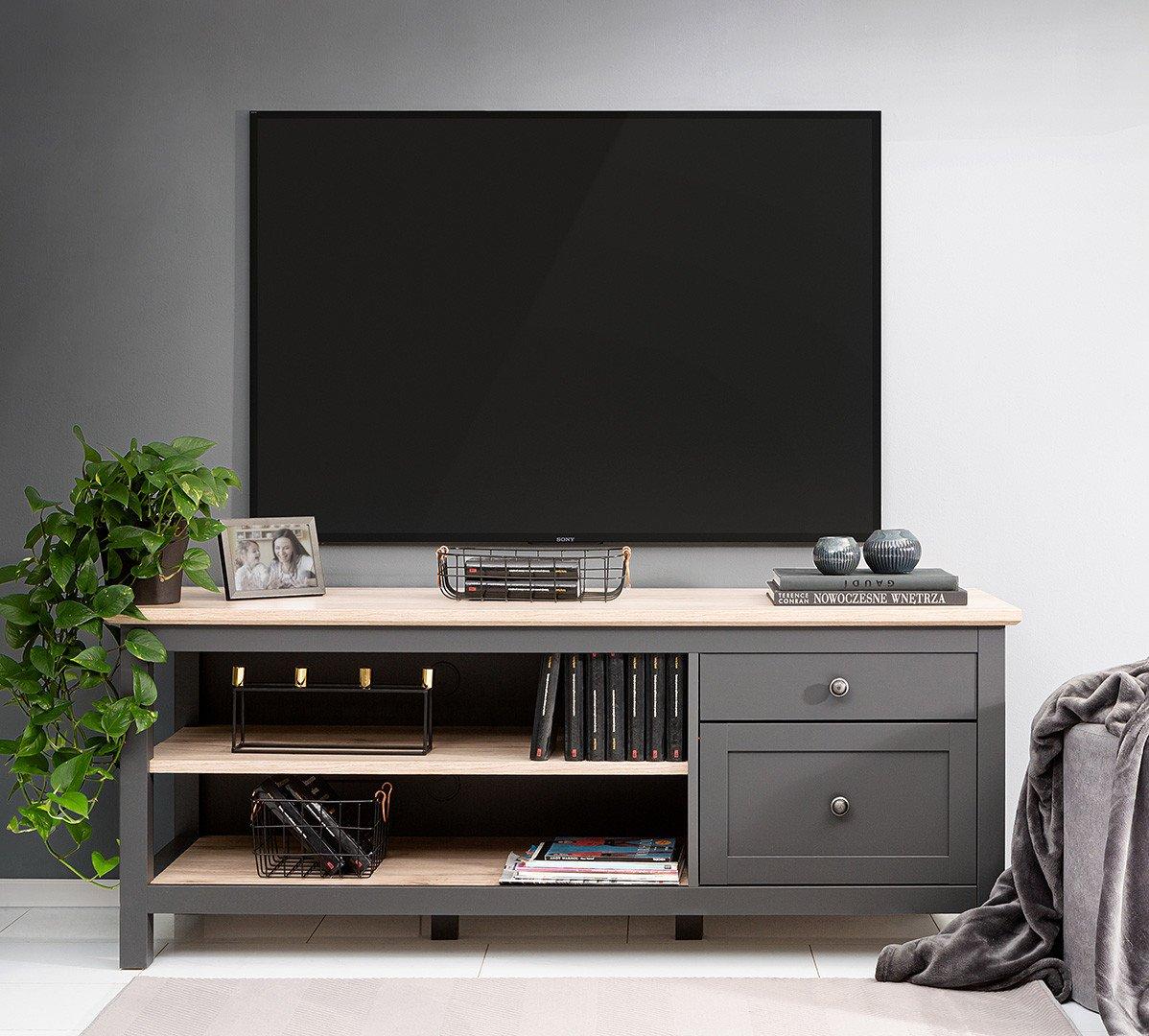 Meuble télé GRAFI graphite/chêne clair