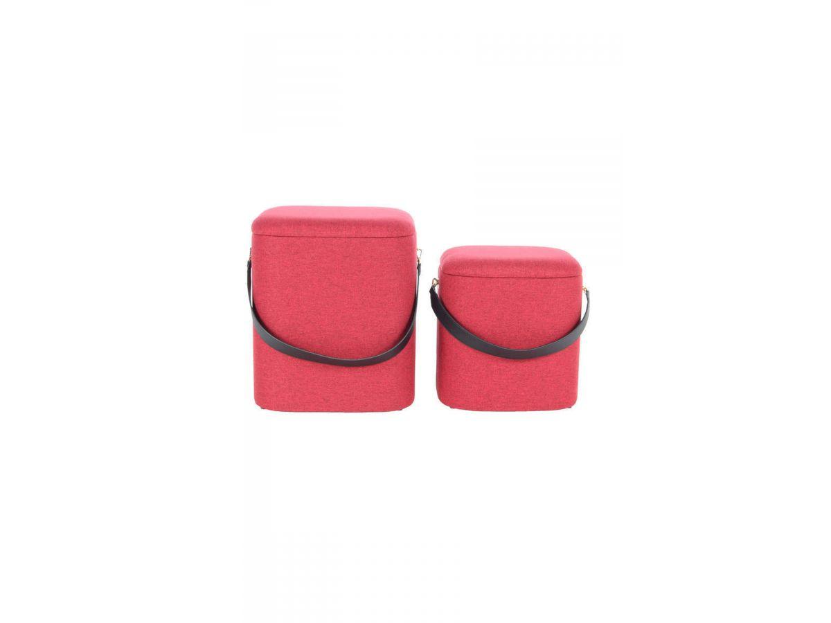 Lot de 2 poufs ZEMA Rouge / Noir