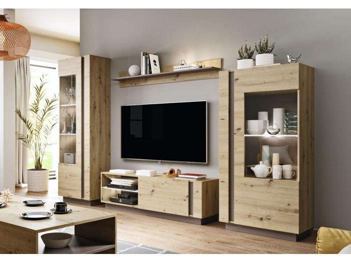 Meuble TV 138 cm ARCOMA Chêne et Gris