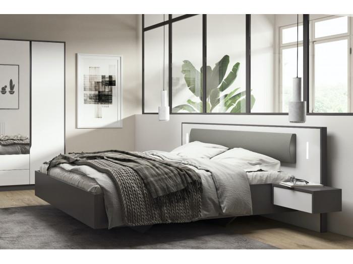 Structure de lit avec chevets suspendus SEGAN blanc et gris 160x200 cm