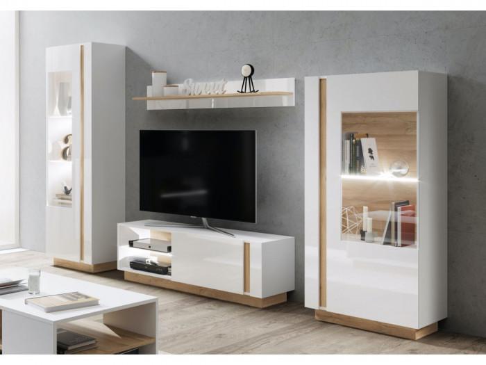 Meuble TV 139 cm ARCOMA Blanc brillant et Chêne