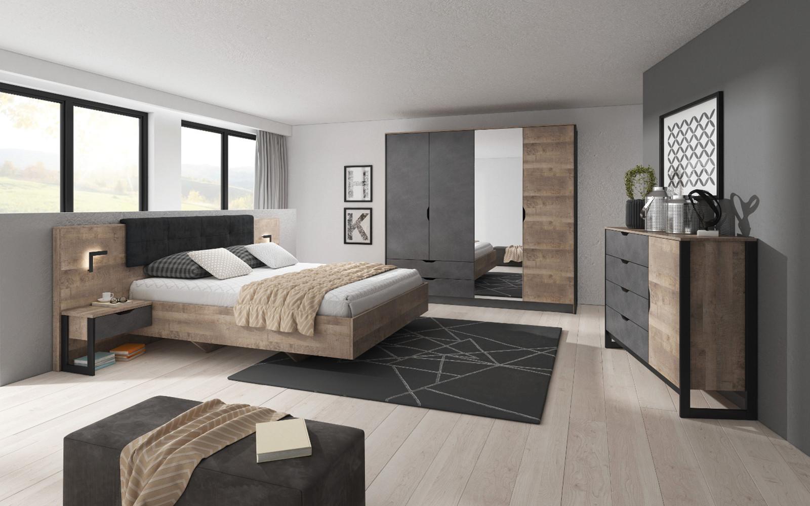 Chambre complète ANDERSIA Chêne vieilli et graphite