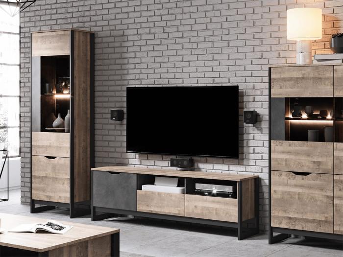 Meuble TV 161 cm ARDENSIA Chêne vieilli et Graphite