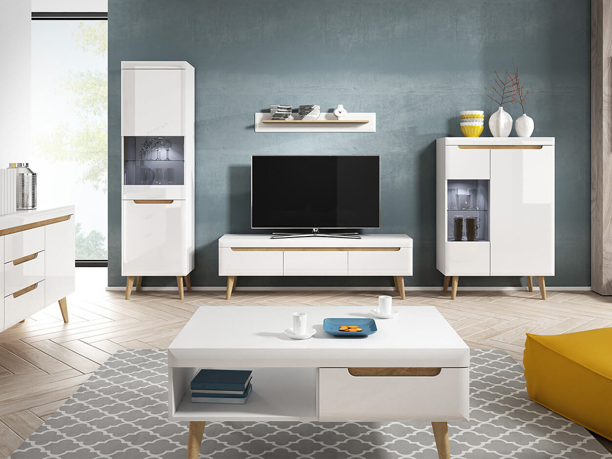 Meuble TV NORDI 160 Blanc brillant et Bois clair BOBOCHIC®