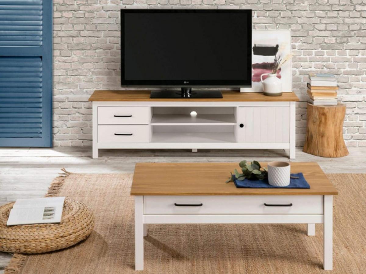 Table basse MEGANE Blanc/ bois clair
