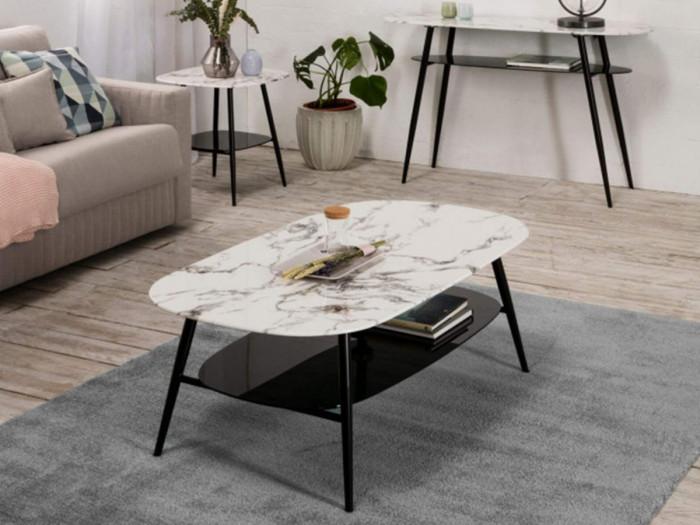 Table d'appoint MONA Blanc et Noir