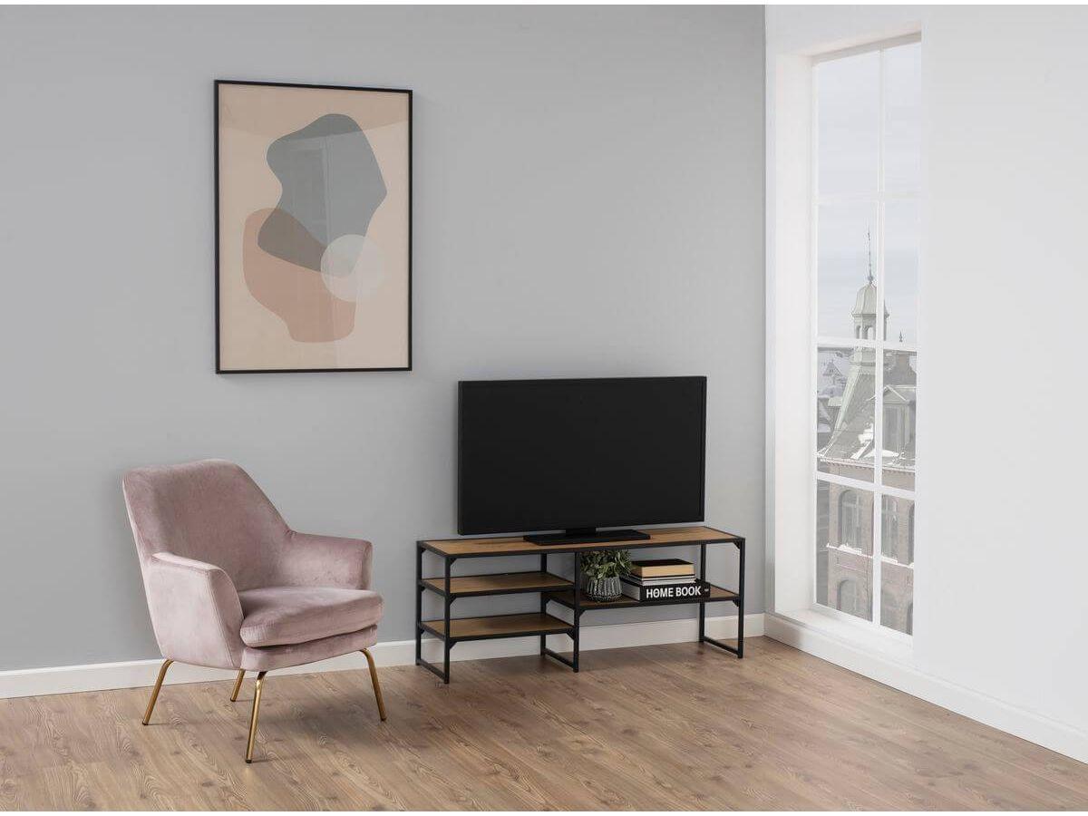 Meuble TV 120 cm RAVEN noir et chêne