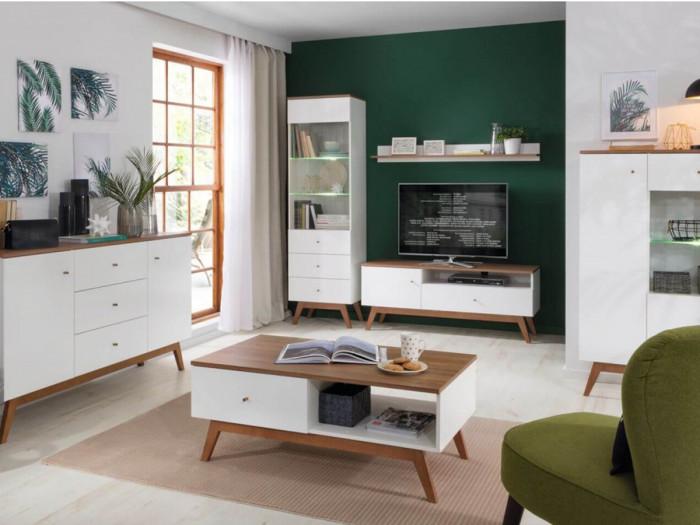 Meuble TV VEDIA Bois et Blanc brillant