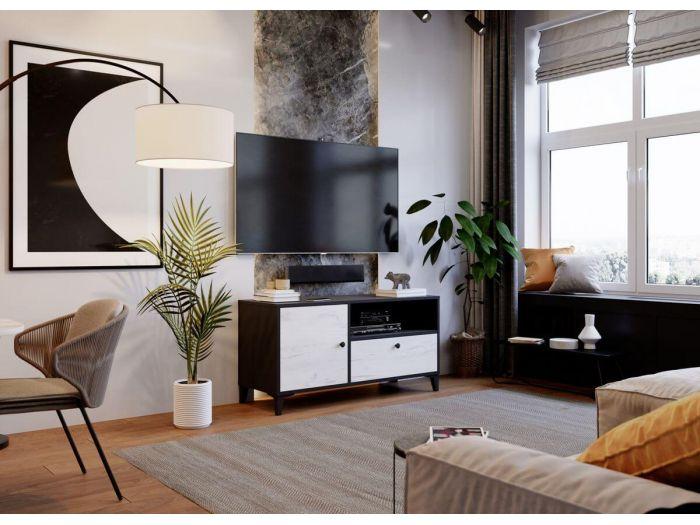 Meuble TV 110 cm MIAMI blanc et noir