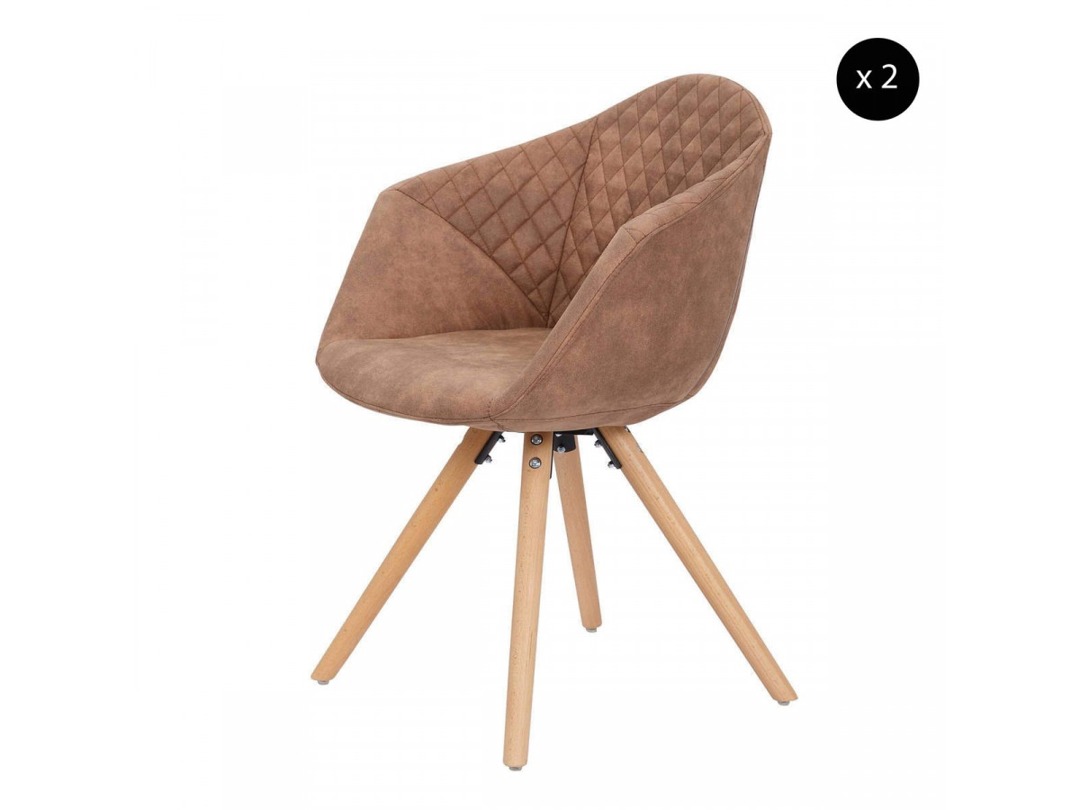 Lot de 2 chaises GABI Marron
