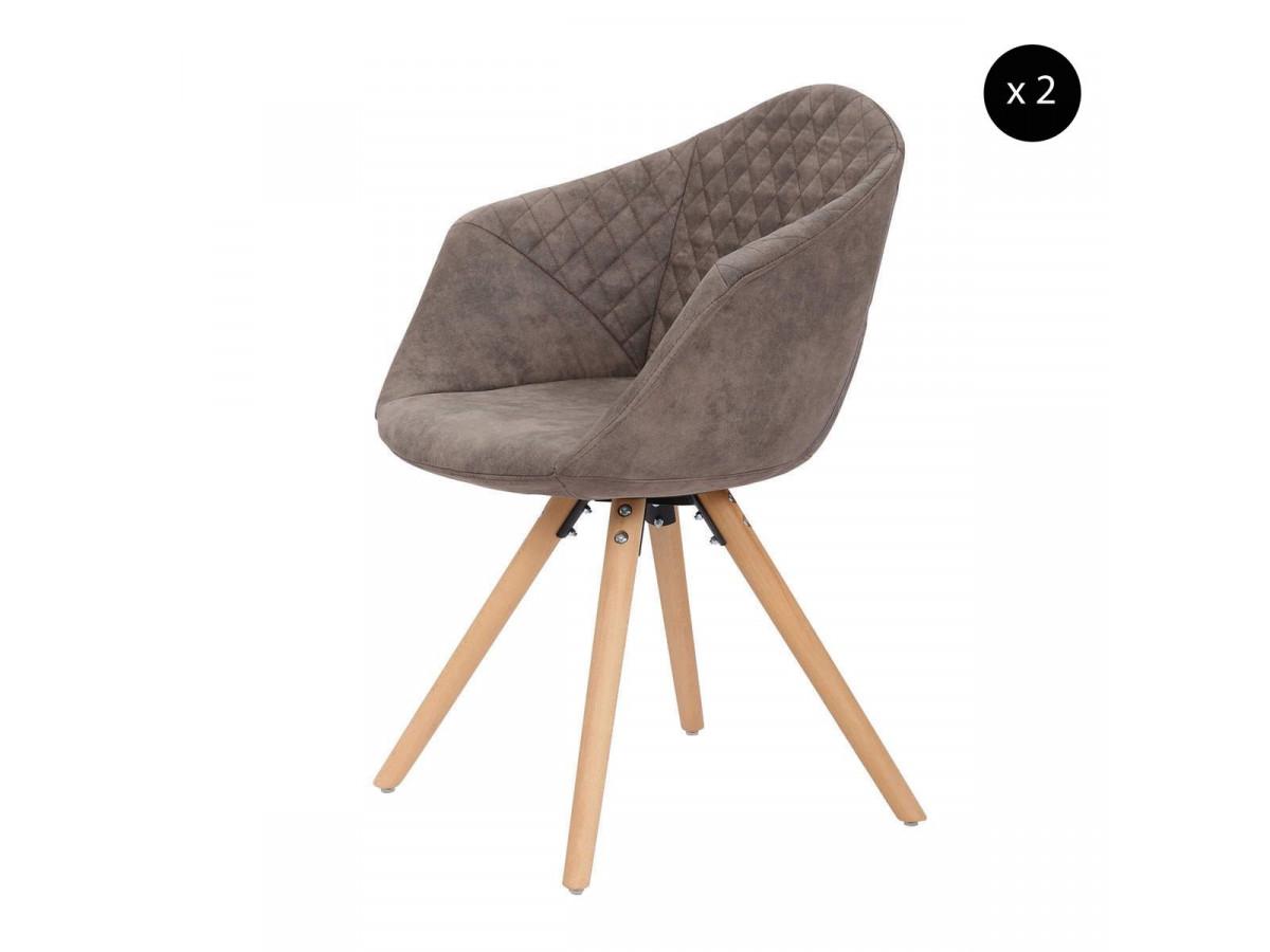 Lot de 2 chaises GABI Gris / Brun