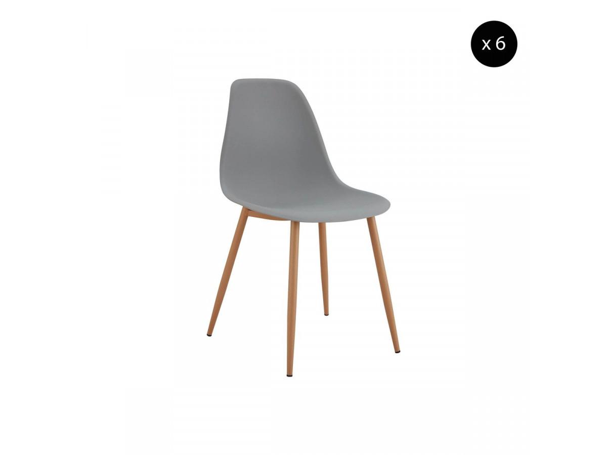 Lot de 6 chaises APLO gris