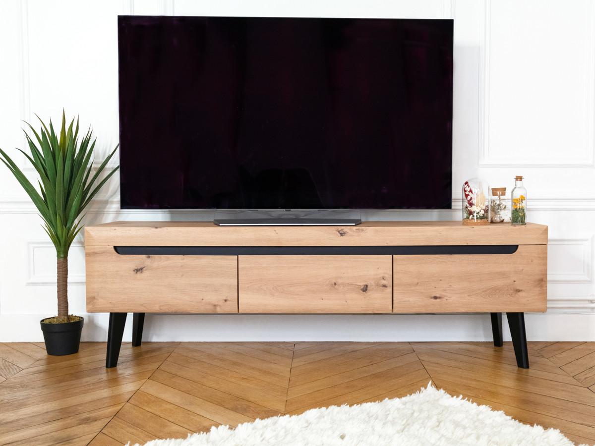 Meuble TV NORDI RETRO 160 Chêne et Noir BOBOCHIC®