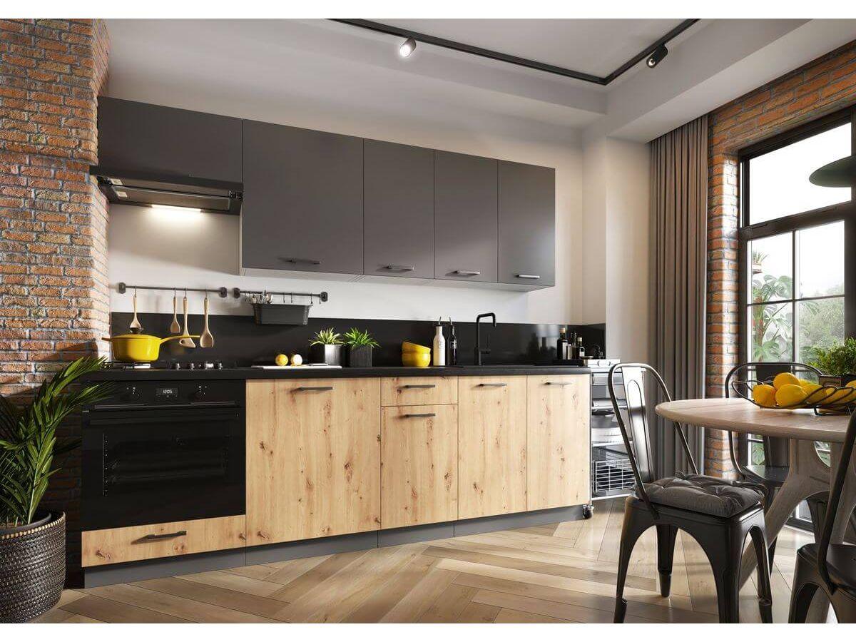 Cuisine complète KAMIE 2,40 m Gris mat, Chêne artisanal et Gris clair espace four
