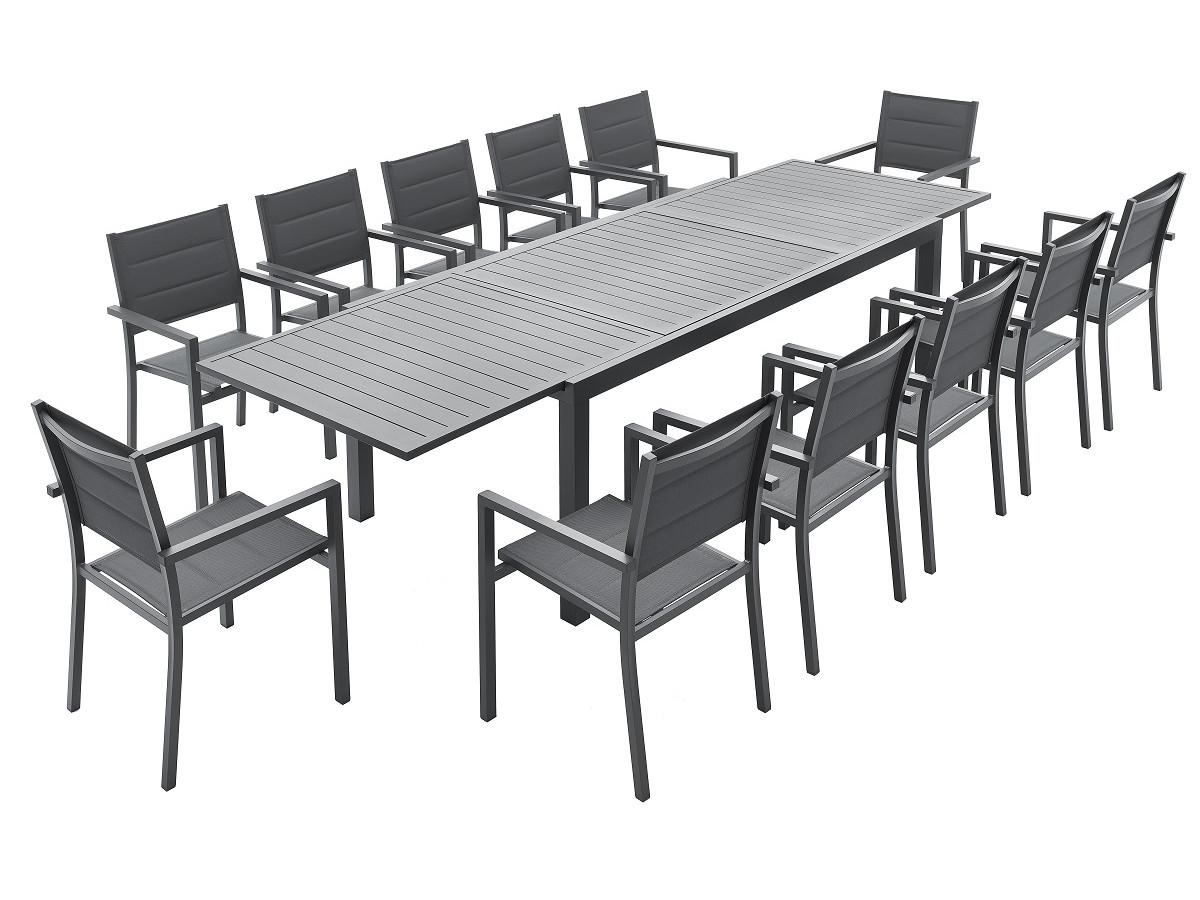 Ensemble table extensible + 12 fauteuils anthracite CLOÉ
