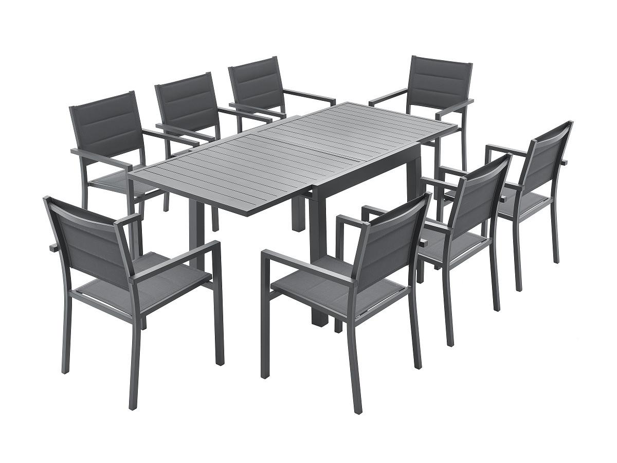 Ensemble table extensible + 8 fauteuils anthracite CLOÉ