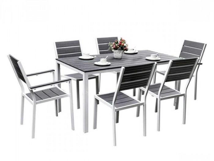 Ensemble table 156 cm 4 chaises et 2 fauteuils MALAGA