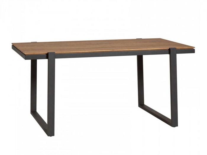 Table 160 cm LAURA Couleur Bois chêne Marron et Pieds métal Noir