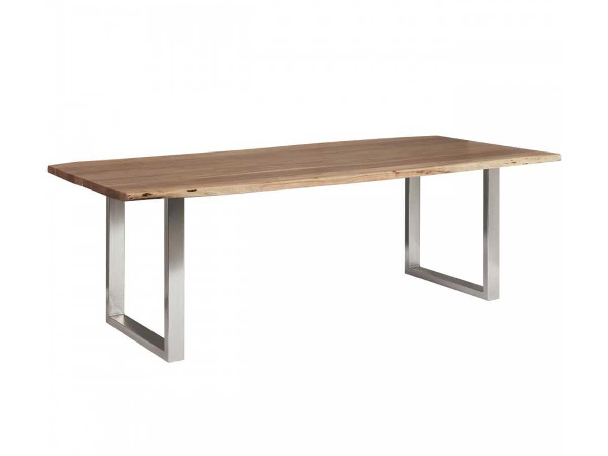Table de repas 6-8 personnes AWA pieds carres en metal chrome
