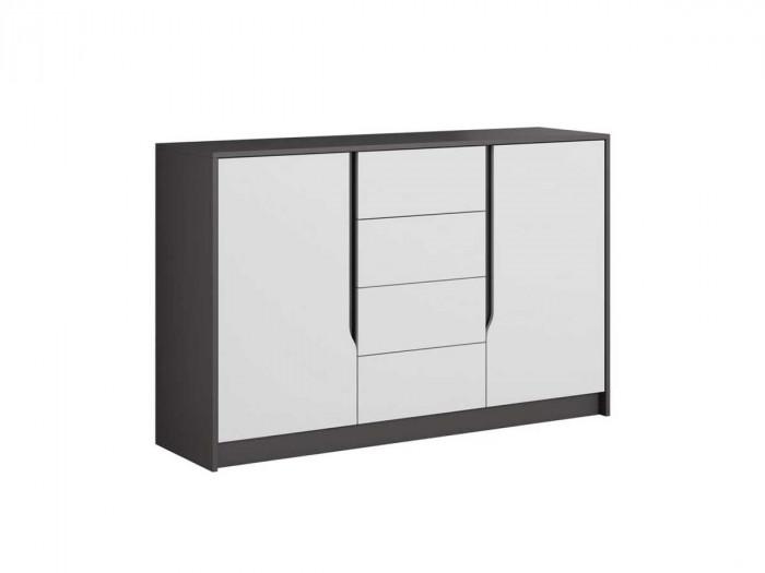 Buffet 3 tiroirs 2 portes SEGAN Blanc et gris