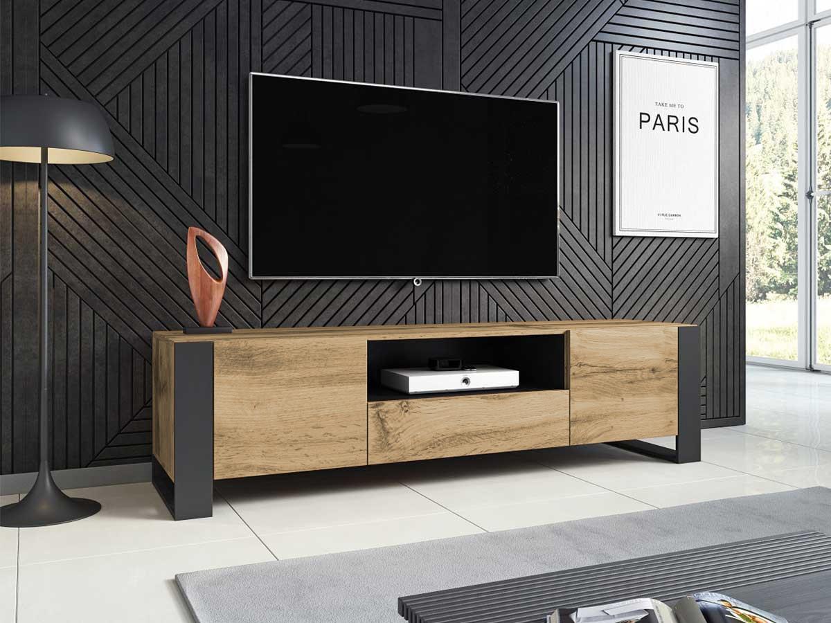 Meuble TV 180 cm Nunki bois et noir