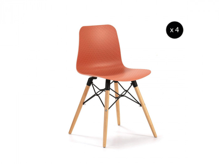 Ensemble de 4 chaises HITA Orange