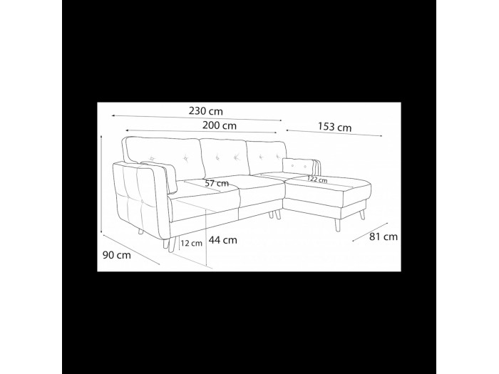 Canapé d'angle Copenhagen convertible coffre