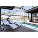 Duo transats bain de soleil HAWAI alu & textilène - Blanc