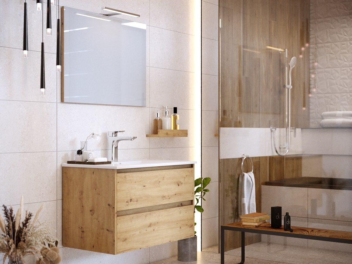 Meuble de salle de bain 80 cmBAYO chêne clair