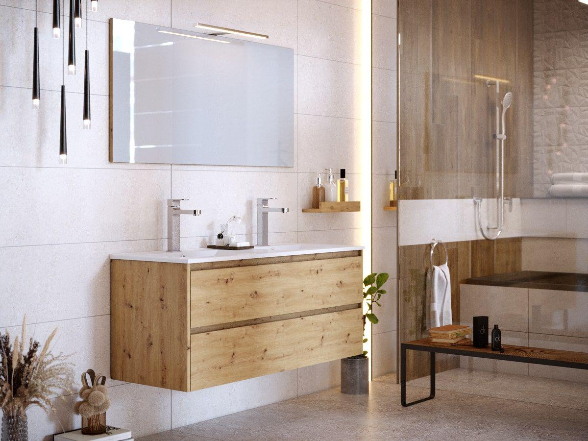 Meuble de salle de bain 120 cm BAYO chêne clair