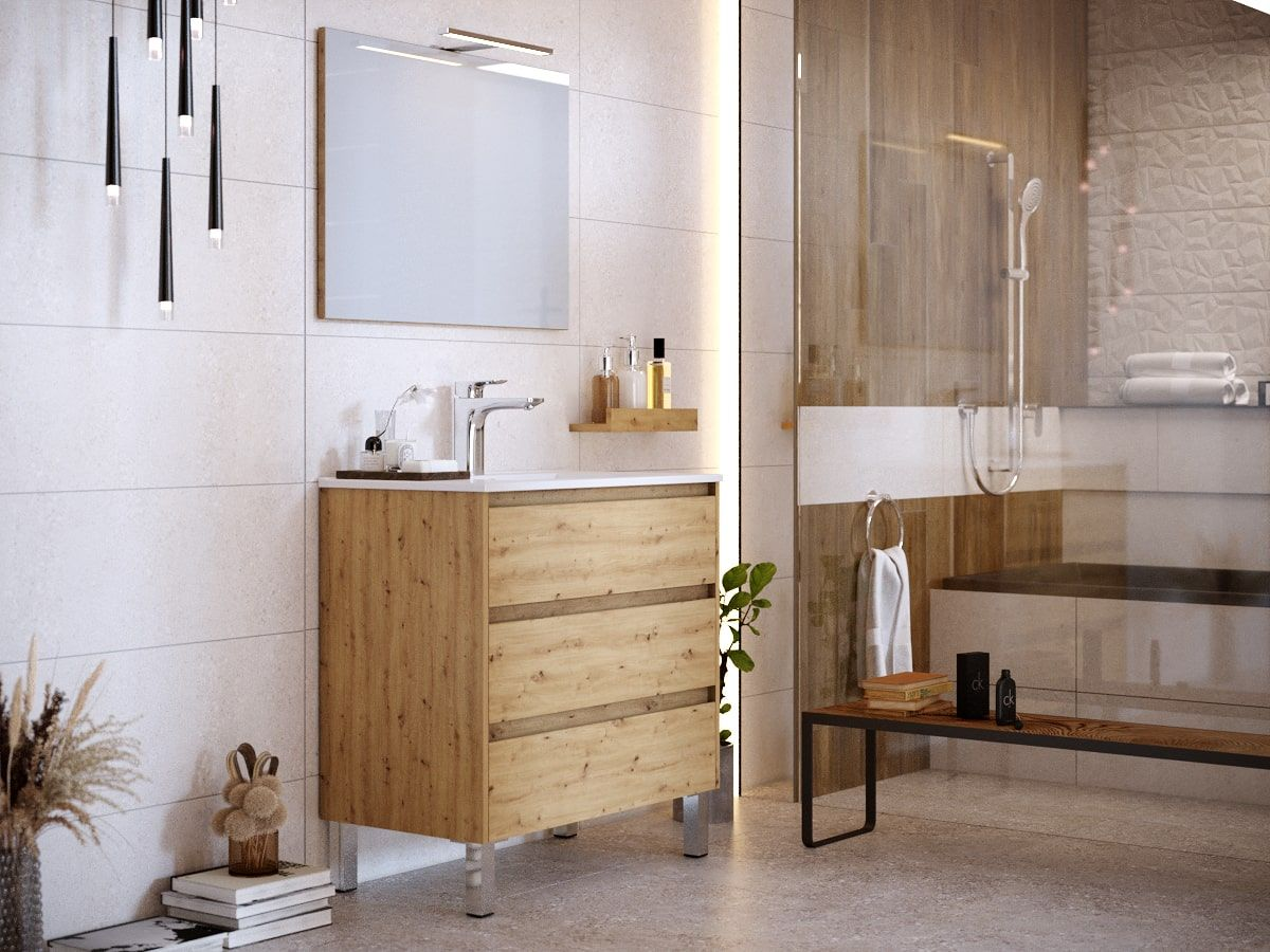 Meuble de salle de bain 80 cm avec pieds BAYO chêne clair