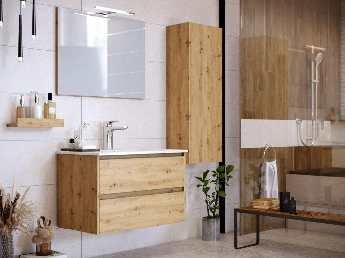 Ensemble de salle de bain 80 cm suspendue avec colonne BAYO chêne clair