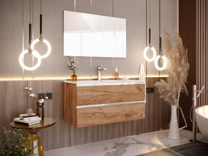 Meuble de salle de bain 100 cm ARIA chêne foncé