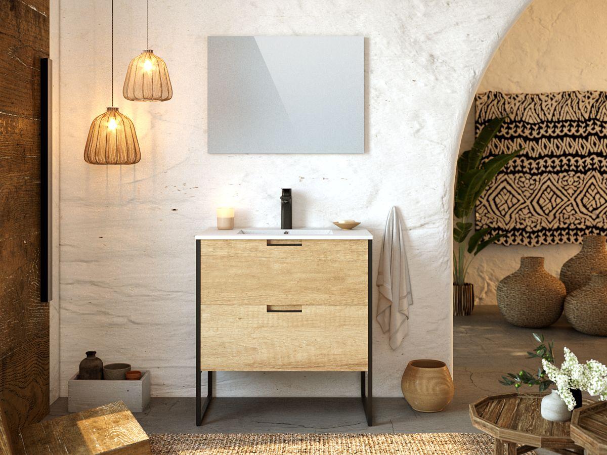 Meuble de salle de bain 80 cm avec pieds MAWA chêne clair