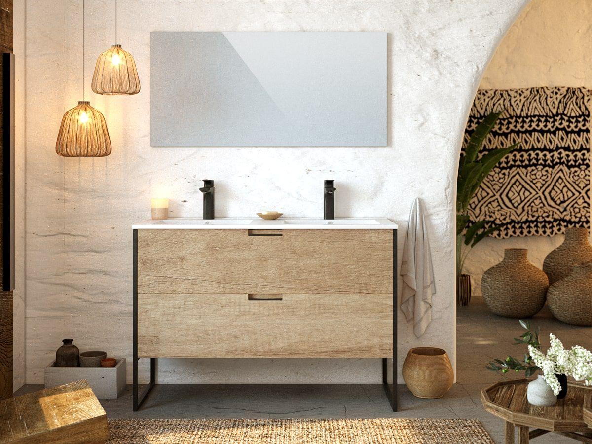 Meuble de salle de bain 120 cm avec pieds MAWA chêne clair