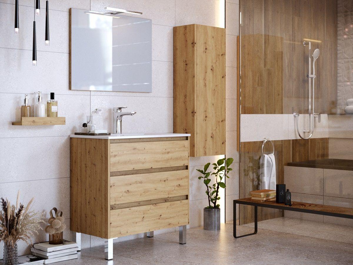 Ensemble de salle de bain 80 cm avec pieds et colonne BAYO chêne clair