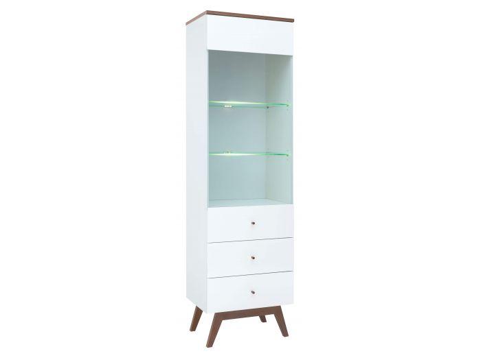 Vitrine 55 cm VEDIA blanc/bois/blanc brillant